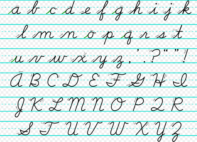 handwriting D' Nealian cursive