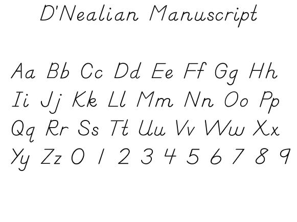 handwriting D' Nealian manuscript