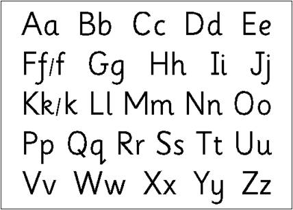 Handwriting. Upper and lower case letters.