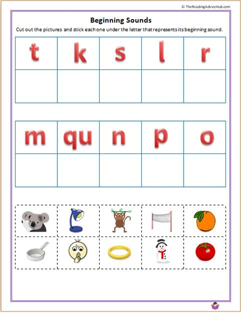 Match the letters to beginning sounds 2