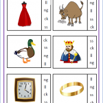 Circle the final digraph ck, ll, ng, ss