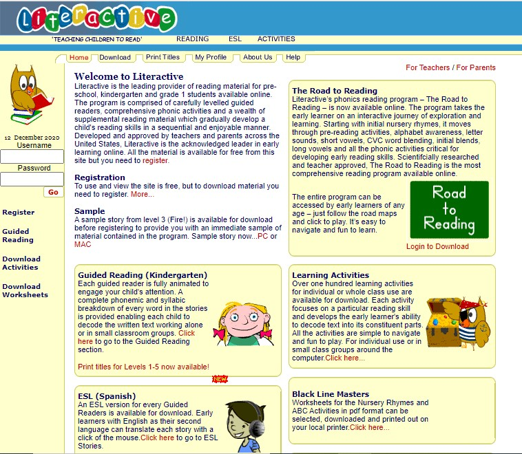 Literactive home page