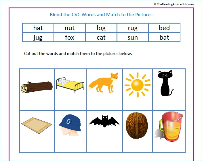 Blend CVC Words and Match to the Pictures
