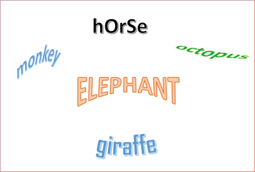 altered word outlines